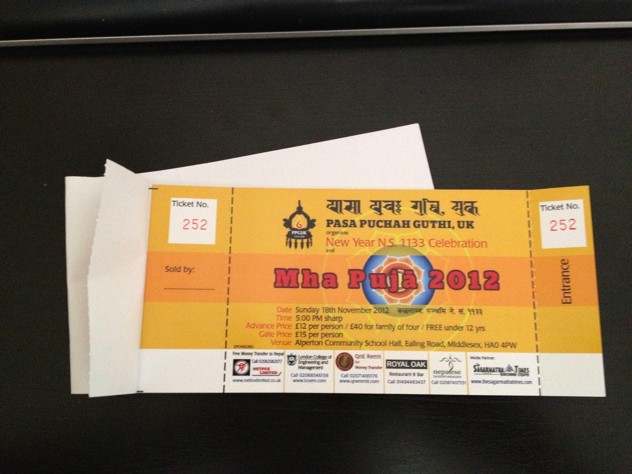 Mha Puja 2012 | Tickets On Sale